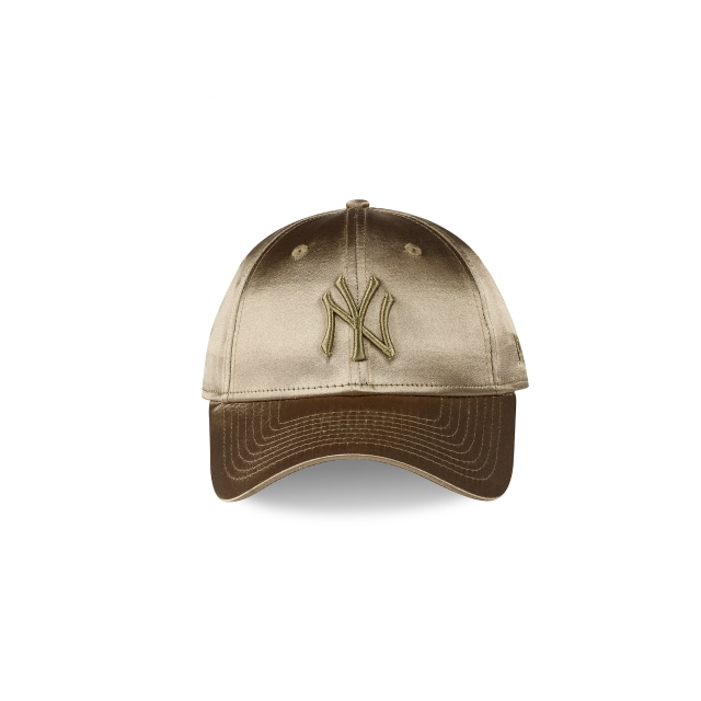 NEW YORK YANKEES SATIN OLIVE WOMENS 9FORTY Front view