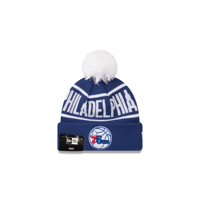 Philadelphia 76ers Original Team Colour Youth Pom Pom Beanie | Philadelphia 76ers Basketball Caps | New Era Cap