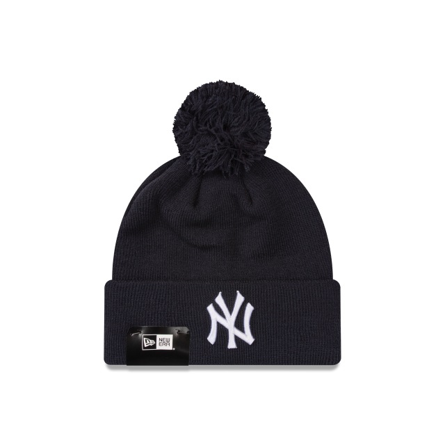 New York Yankees Navy White Pom Pom Beanie | New York Yankees Baseball Caps | New Era Cap