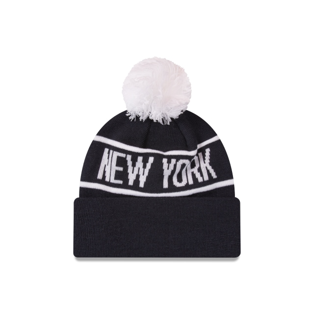 New York Yankees Original Team Colour Pom Pom Beanie | New York Yankees Baseball Caps | New Era Cap