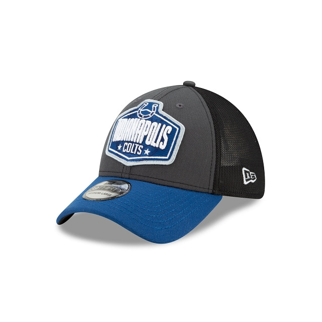 Indianopolous Colts NFL 2021 Draft Graphite And Official Team Colours 39THIRTY Stretch Fit | Indianapolis Colts Hats | New Era Cap