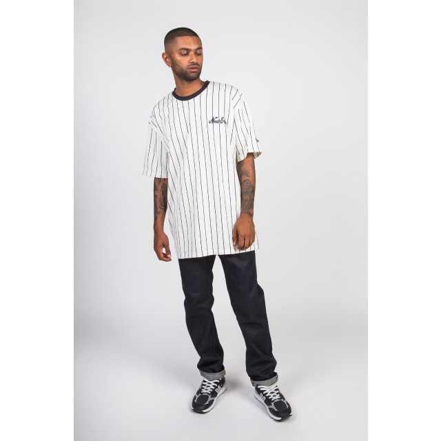 NEW ERA OFF WHITE PINSTRIPE OVERSIZED T-SHIRT 3 quarter left view