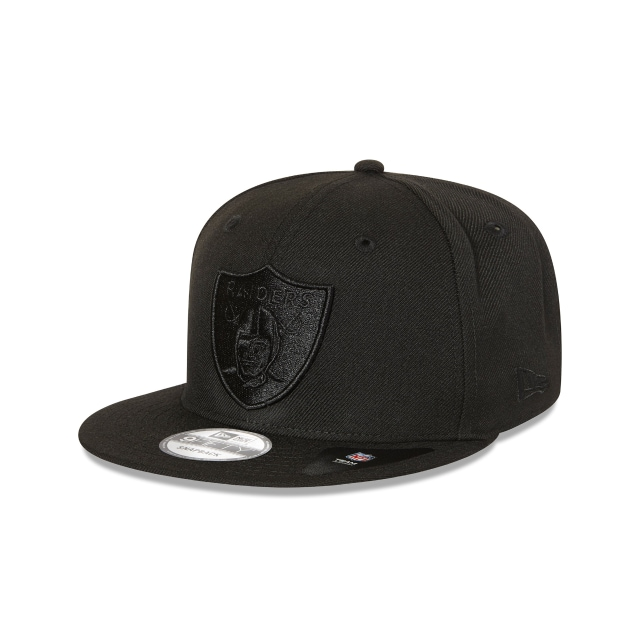 OAKLAND RAIDERS BLACK ON BLACK 9FIFTY SNAPBACK 3 quarter left view