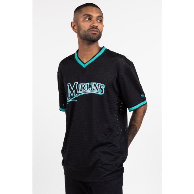 Florida Marlins Black Mesh Baseball T-shirt | New Era Cap