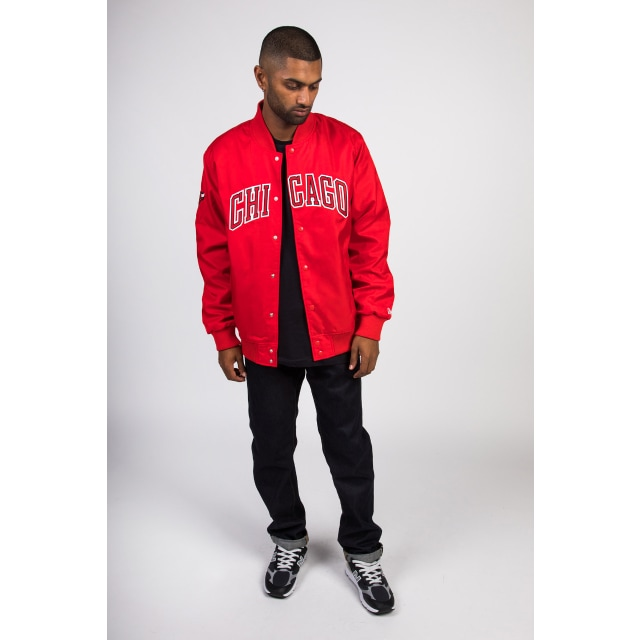 Chicago Bulls Red Wordmark Varsity Jacket | Chicago Bulls Basketball Caps | New Era Cap