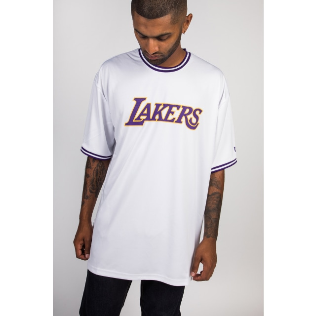 Los Angeles Lakers White Wordmark Tipping T-shirt | Los Angeles Lakers Basketball Caps | New Era Cap