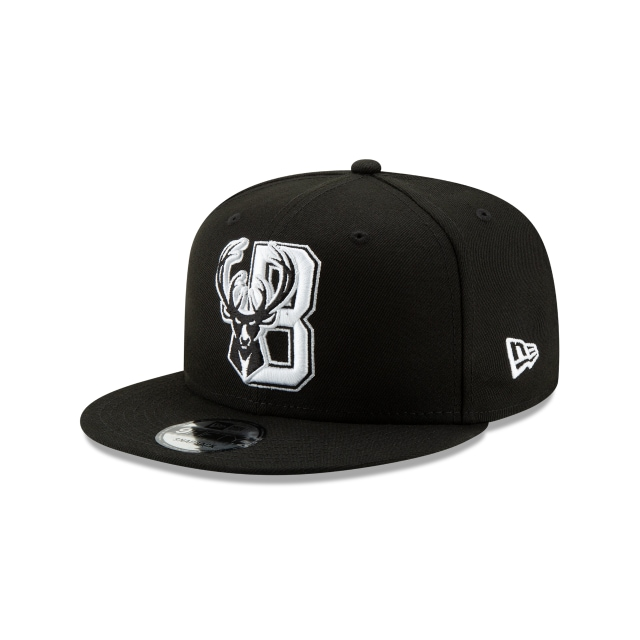 Milwaukee Bucks Nba Authentics Back Half Series Black 9fifty Snapback | New Era Cap