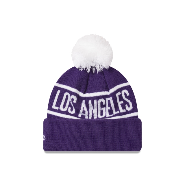 Los Angeles Lakers Original Team Colours Pom Pom Knit | Los Angeles Lakers Basketball Caps | New Era Cap