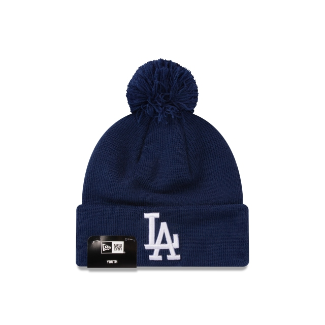 890f3d928aedfa Los Angeles Dodgers Dark Royal Pom Pom Youth Beanie | New Era Cap