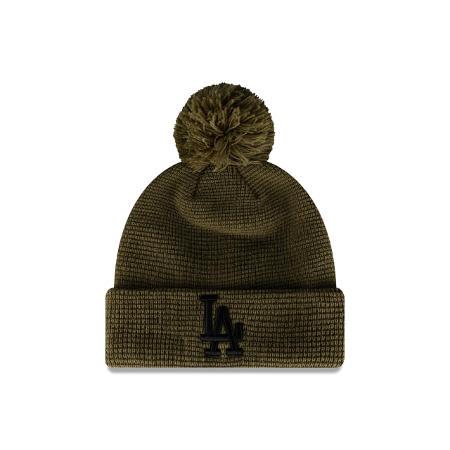Los Angeles Dodgers Olive Waffle Knit Beanie | Los Angeles Dodgers Hats | New Era Cap