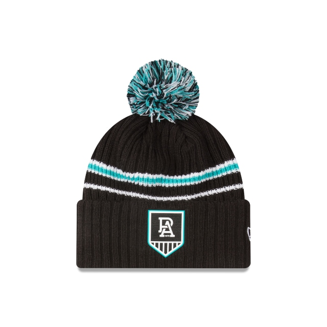 Port Adelaide Power Black Cuff Knit With Stripe Beanie | Port Adelaide Power Hats | New Era Cap
