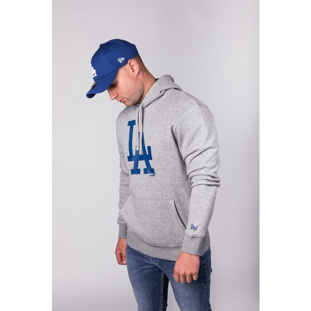 Los Angeles Dodgers Team Essential Pull Over Grey Heather Hoodie | New Era Cap
