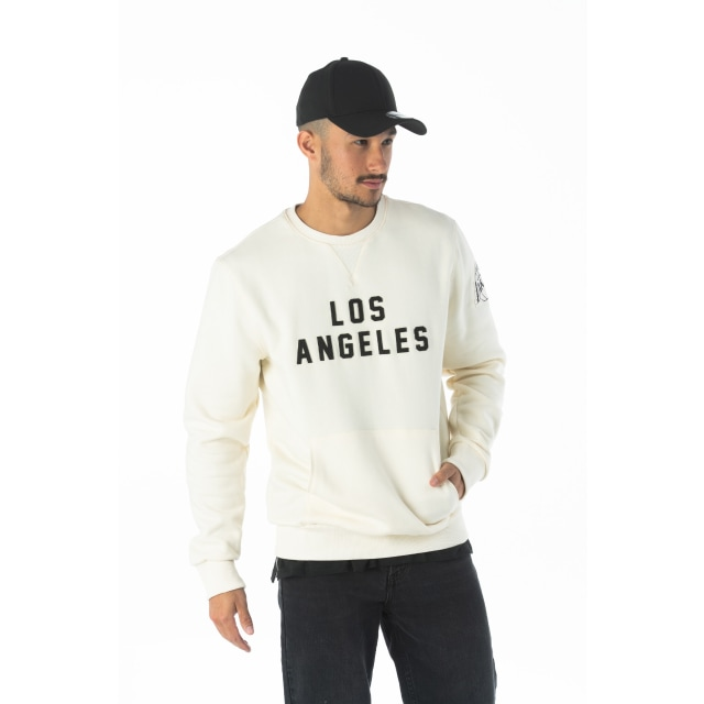 Nba Wordmark Los Angeles Lakers Off White Crew Neck Sweater | New Era Cap