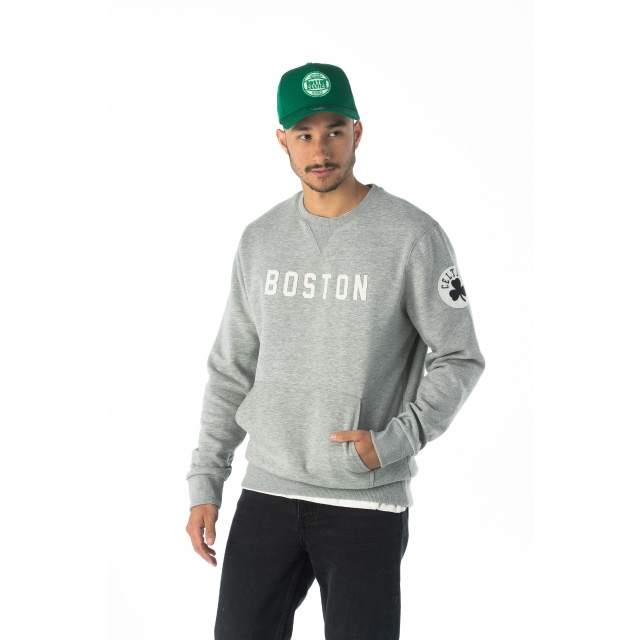 NBA Wordmark Boston Celtics Light Grey Crew Neck Sweater | Boston Celtics | New Era Cap