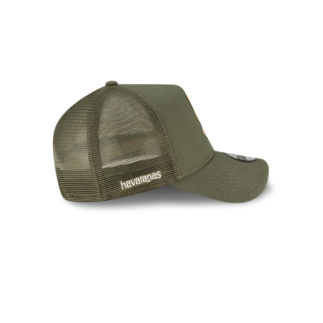 New Era X Havaianas Olive Green 9FORTY Trucker | Havaianas X New Era Hats | New Era Cap