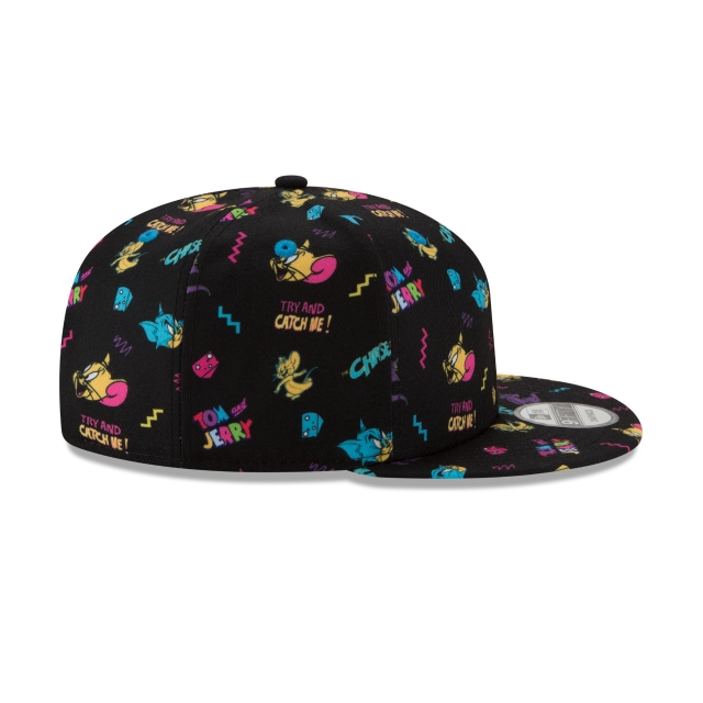 Tom And Jerry Black Scatter Print 9FIFTY Snapback | Power Couples Hats | New Era Cap