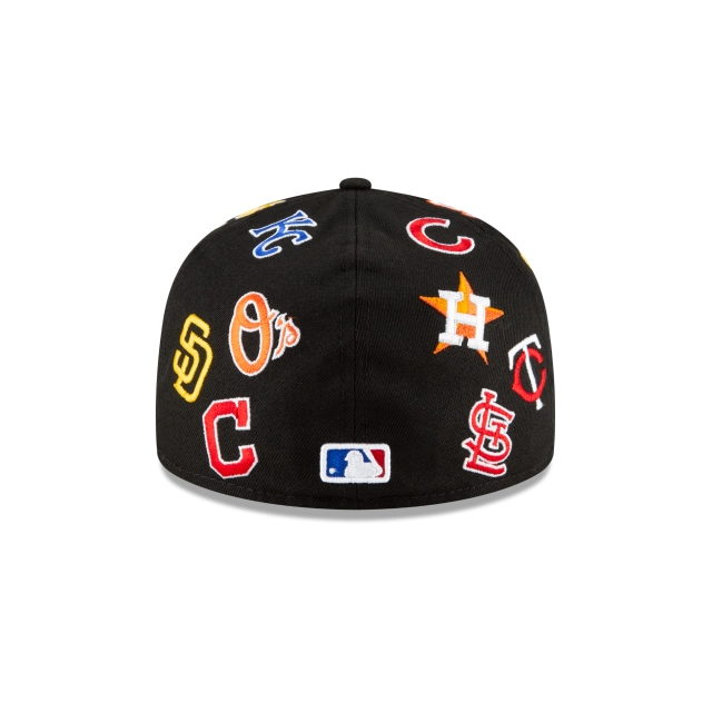 MLB All Over Logo 59FIFTY Fitted | New Era 100th Anniversary Hats | New Era Cap