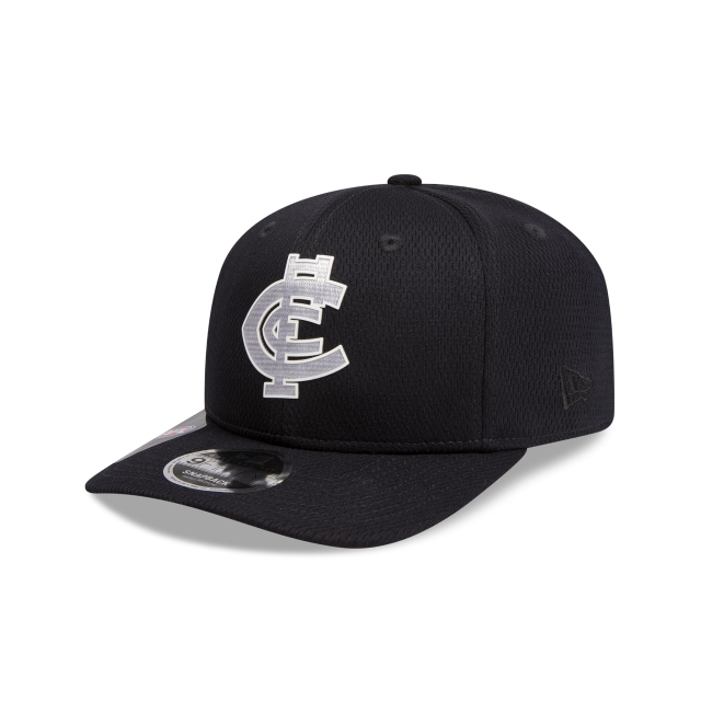 Carlton Blues Navy Mesh 9FIFTY Pre-curved Snapback | Carlton Blues Hats | New Era Cap