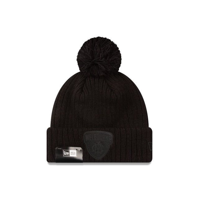 Melbourne Demons Black On Black Cuff Knit Beanie | Melbourne Demons Hats | New Era Cap