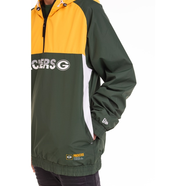 Green Bay Packers Hooded Colour Block Windbreaker Jacket | Green Bay Packers | New Era Cap