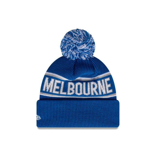 North Melbourne Kangaroos Official Team Colours Pom Beanie | North Melbourne Kangaroos Hats | New Era Cap