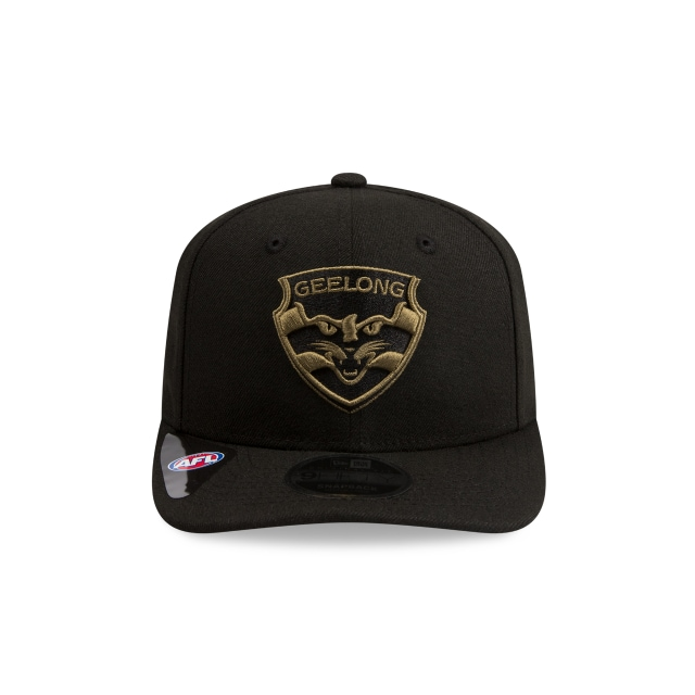Geelong Cats Black Olive 9FIFTY Pre-curved Snapback | Geelong Cats Hats | New Era Cap
