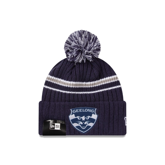 Geelong Cats Navy Cuff Knit With Stripe Beanie | New Era Cap