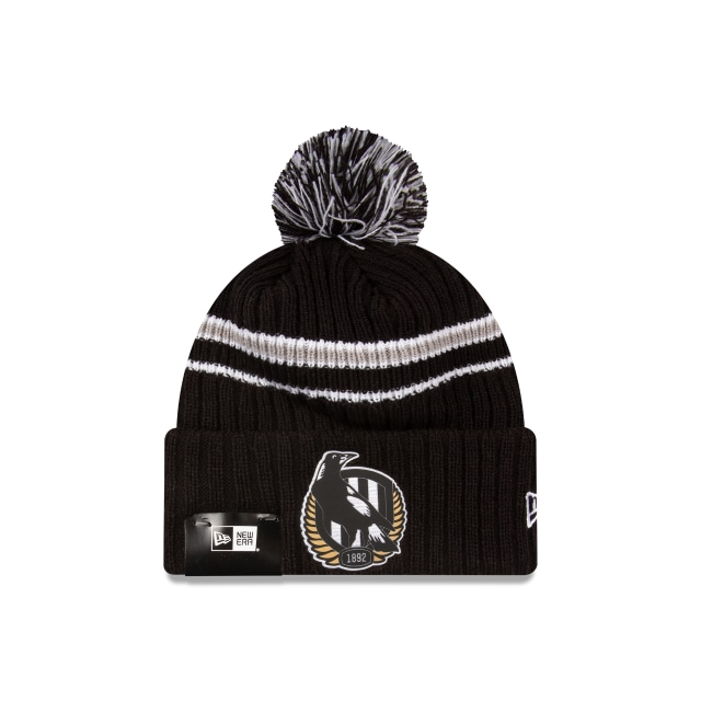 Collingwood Magpies Black Cuff Knit With Stripe Beanie | Collingwood Magpies Caps | New Era Cap