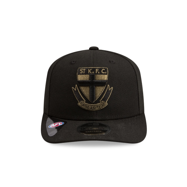 St Kilda Saints Black Olive 9fifty Pre-curved Snapback | St Kilda Saints Caps | New Era Cap