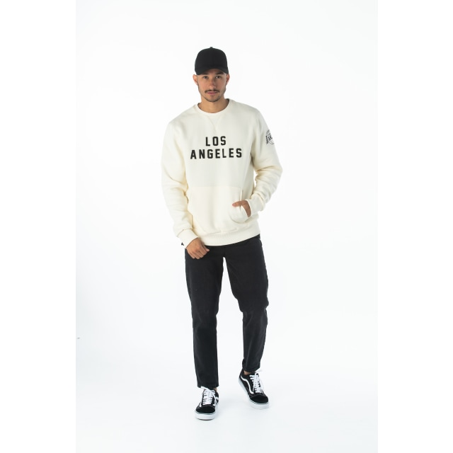 NBA Wordmark Los Angeles Lakers Off White Crew Neck Sweater | Los Angeles Lakers | New Era Cap