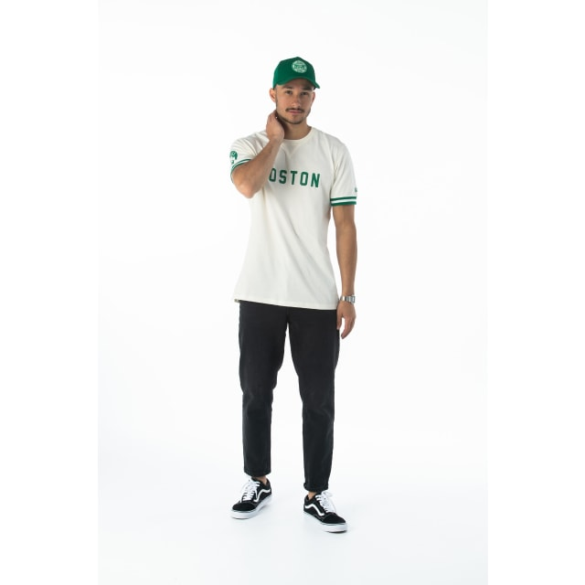 Nba Wordmark Boston Celtics Off White T-shirt | Boston Celtics Basketball Caps | New Era Cap