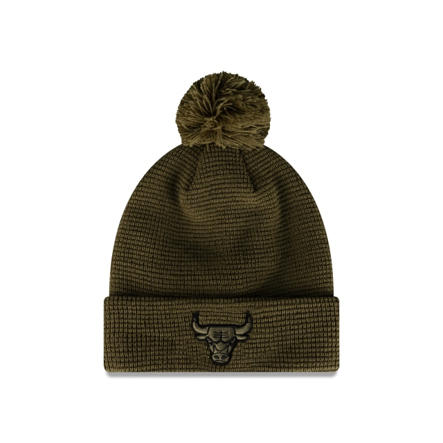 Chicago Bulls Olive Waffle Knit Beanie | Chicago Bulls Hats | New Era Cap