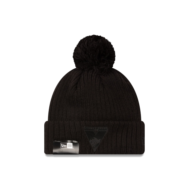Sydney Swans Black On Black Cuff Knit Beanie | Sydney Swans Hats | New Era Cap