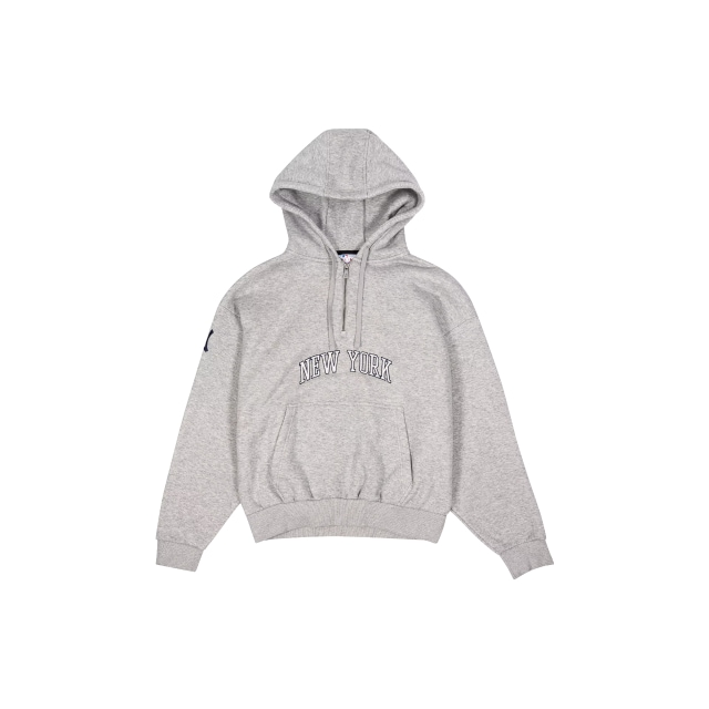 New York Yankees Light Grey Zip Wordmark Hoodie | New York Yankees | New Era Cap