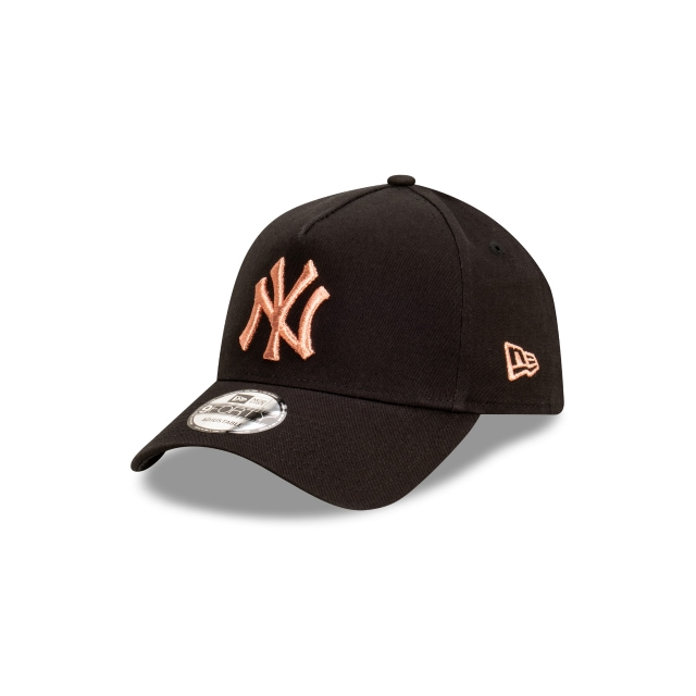 New York Yankees Black And Rose Gold Womens 9FORTY A-frame | New York Yankees Hats | New Era Cap