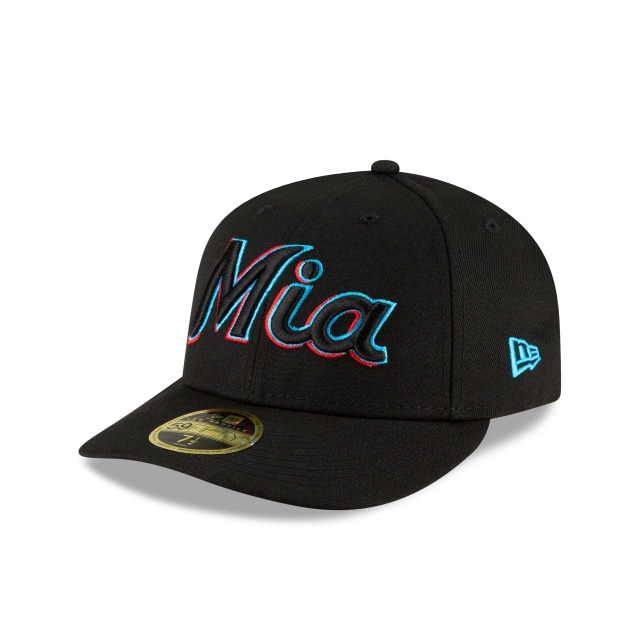 Miami Marlins MLB Ligature Official Team Colours Low Profile 59FIFTY Fitted | Miami Marlins Hats | New Era Cap